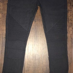 Pants - Black motto leggings with zippered ankles